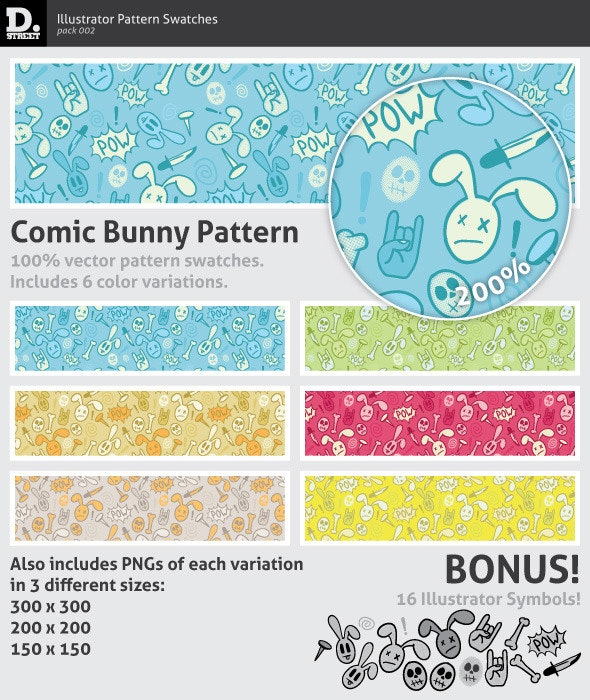 Comic Bunny Pattern - Textures / Fills / Patterns Illustrator