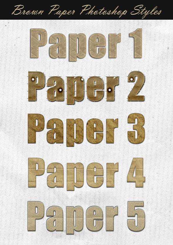 Brown Paper Photoshop Styles - Text Effects Styles