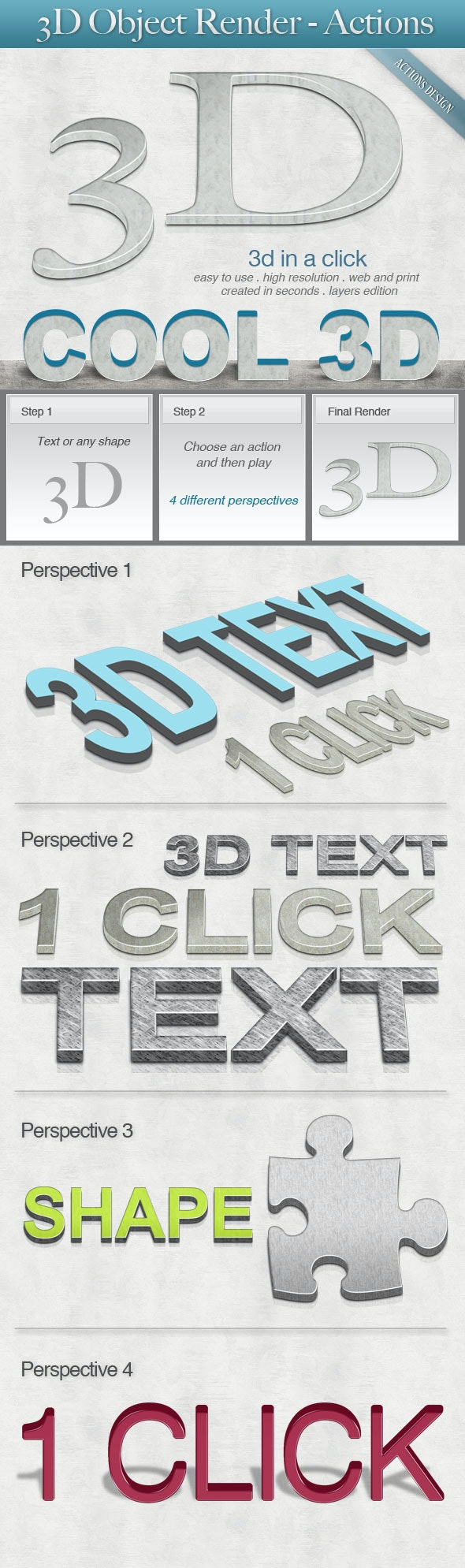 3D Object Render - Text Effects Actions