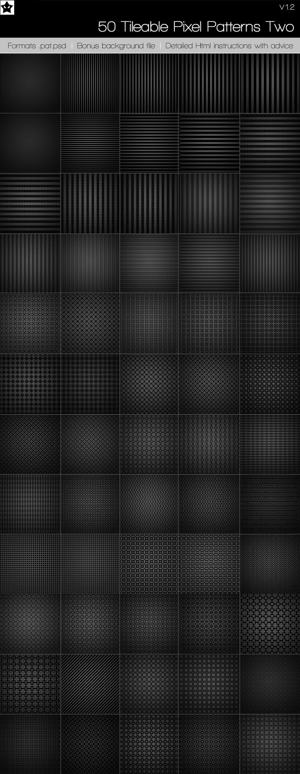 50 tileable pixel paterns + 10 Bonus patterns - Photoshop Add-ons