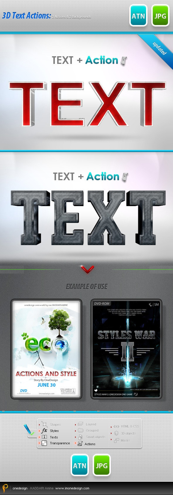3D Text Style Actions : 2 Diffrent Styles  - Text Effects Actions