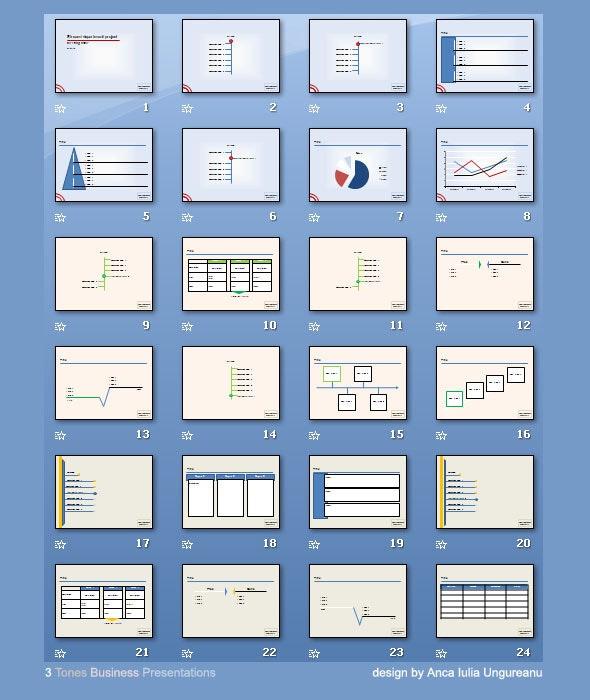 3 Tones Business Presentations - PowerPoint Templates Presentation Templates
