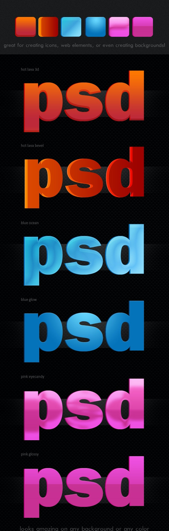 Eye-Catching Colorful Layer Styles, Pack of 6. - Text Effects Styles