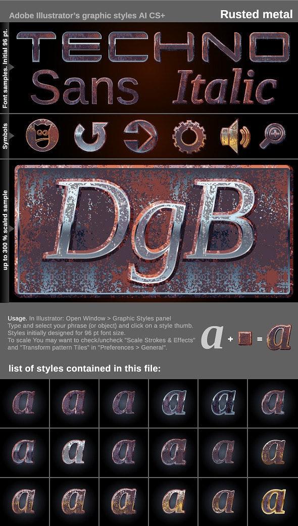 Illustrator Graphic Styles - Rusted metal - Styles Illustrator