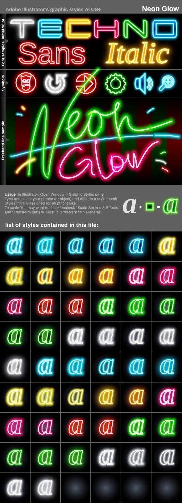 Illustrator Graphic Styles. Neon Glow - Styles Illustrator
