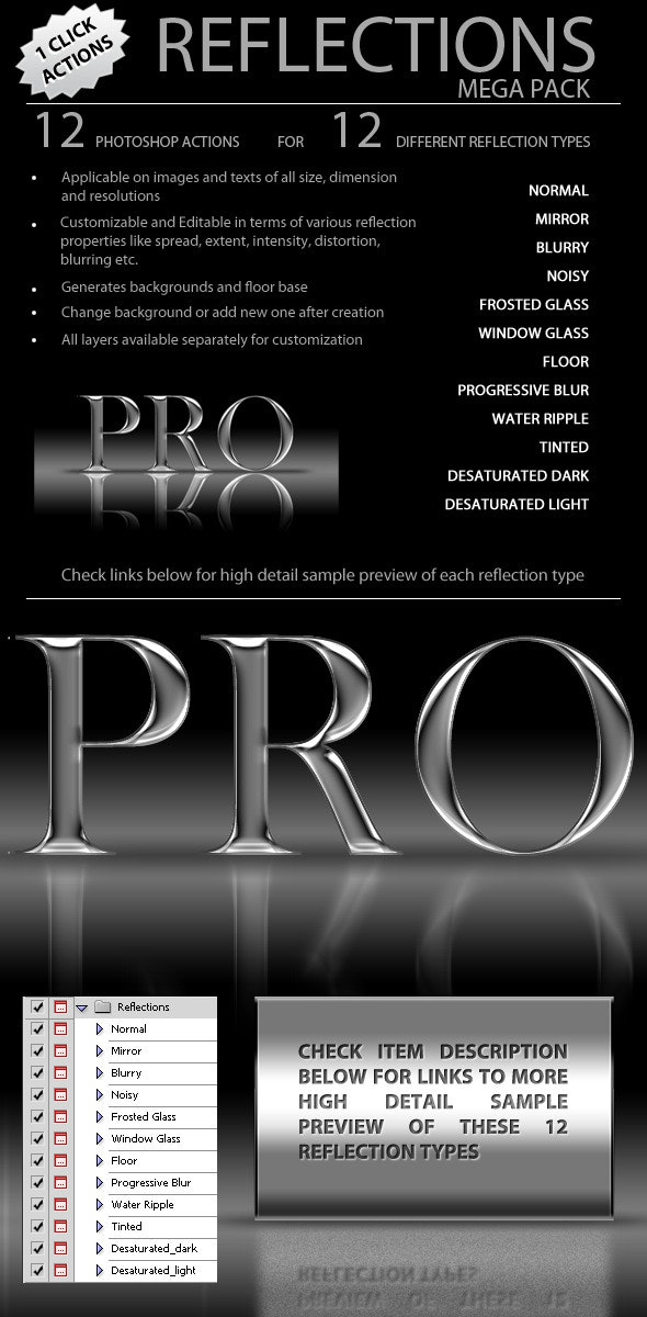 Reflections Pro - Mega Pack - Text Effects Actions