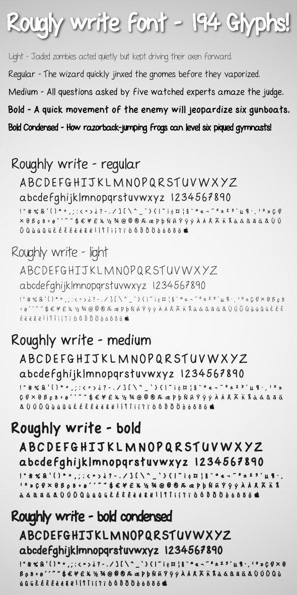 Roughly Write Set / Handwriting / 194 glyphs / ttf - Hand-writing Script