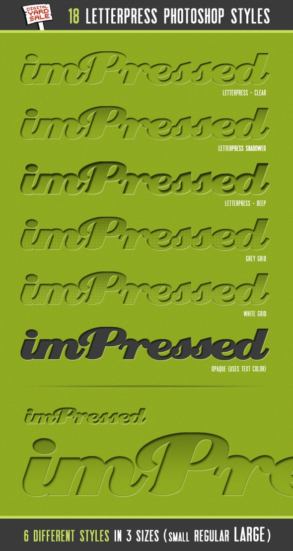imPressed - 18 Letterpress Photoshop Layer Styles - Text Effects Styles