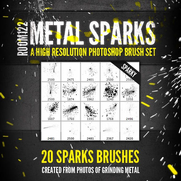 Metal Sparks - 20 Photoshop Brushes
