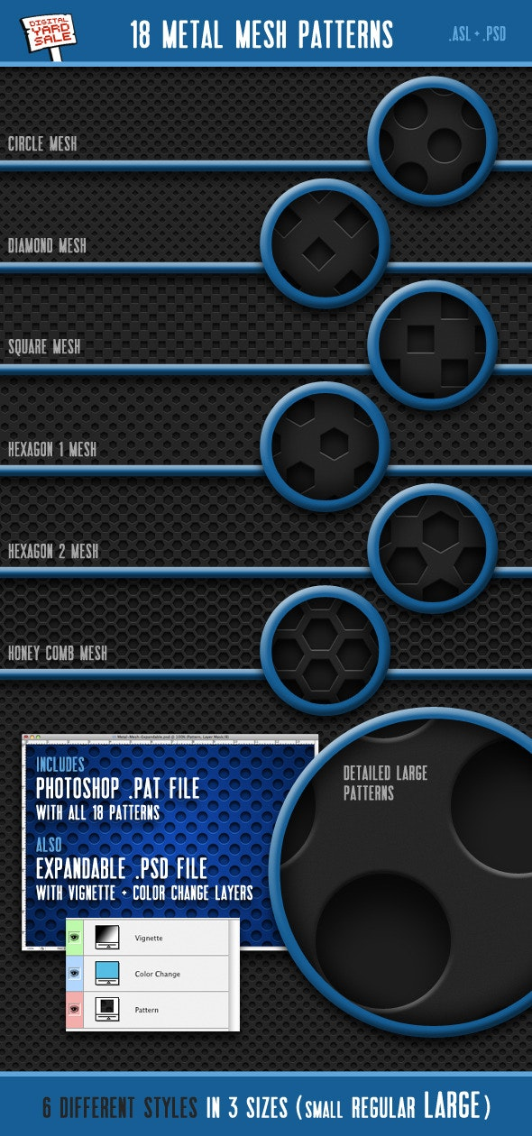 18 Seamless Metal Mesh Photoshop Patterns - Techno / Futuristic Textures / Fills / Patterns