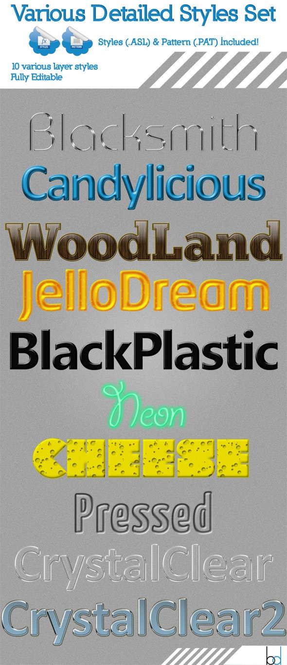 Various Detailed Styles Set - Text Effects Styles