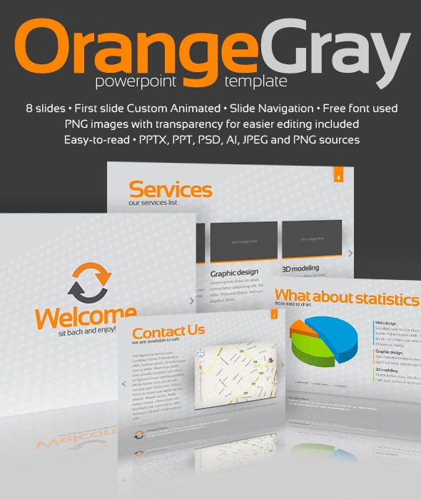 Orange Gray Powerpoint Template By Alanmolnar Graphicriver