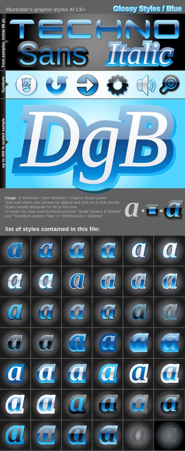 Illustrator Graphic Styles. Glossy - Styles Illustrator