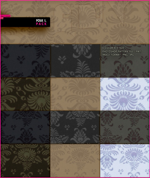 Folk I. Pack - Textures / Fills / Patterns Photoshop