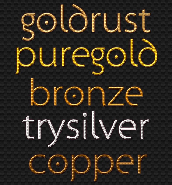 Premium: Gold, Silver, Bronze & Copper Text Styles - Photoshop Add-ons