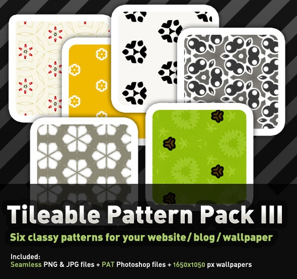 6 Floral, tileable Pattern Pack I - Miscellaneous Textures / Fills / Patterns