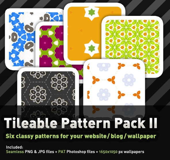 6 Colourful, tileable Pattern Pack II - Miscellaneous Textures / Fills / Patterns