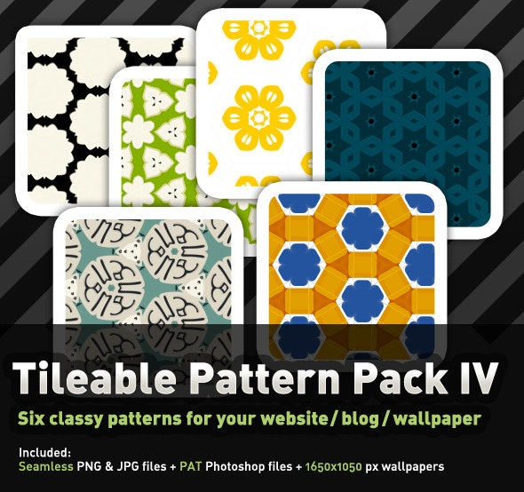 6 Colourful, tileable Pattern Pack IV - Miscellaneous Textures / Fills / Patterns
