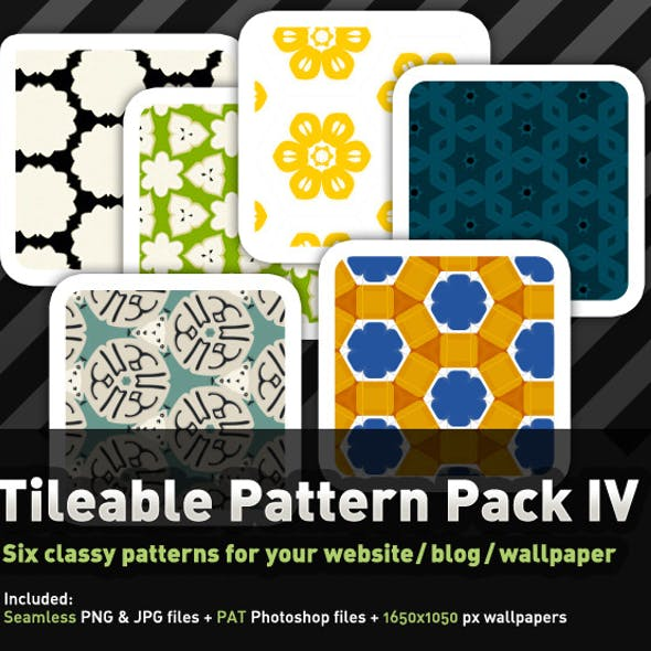 6 Colourful, tileable Pattern Pack IV