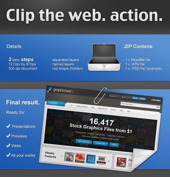 Clip the web. PS ACTION. - Utilities Actions