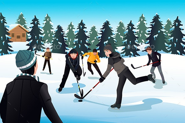 Men Playing Ice Hockey - Sports/Activity Conceptual