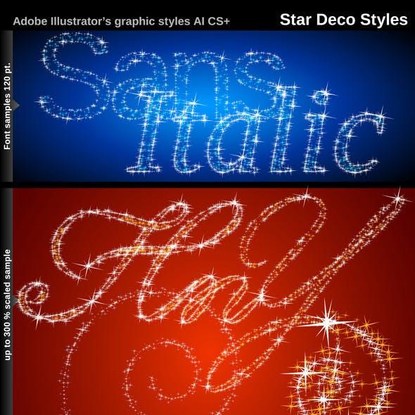 Illustrator Graphic Styles. Stars Deco
