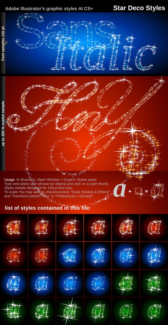 Illustrator Graphic Styles. Stars Deco - Styles Illustrator