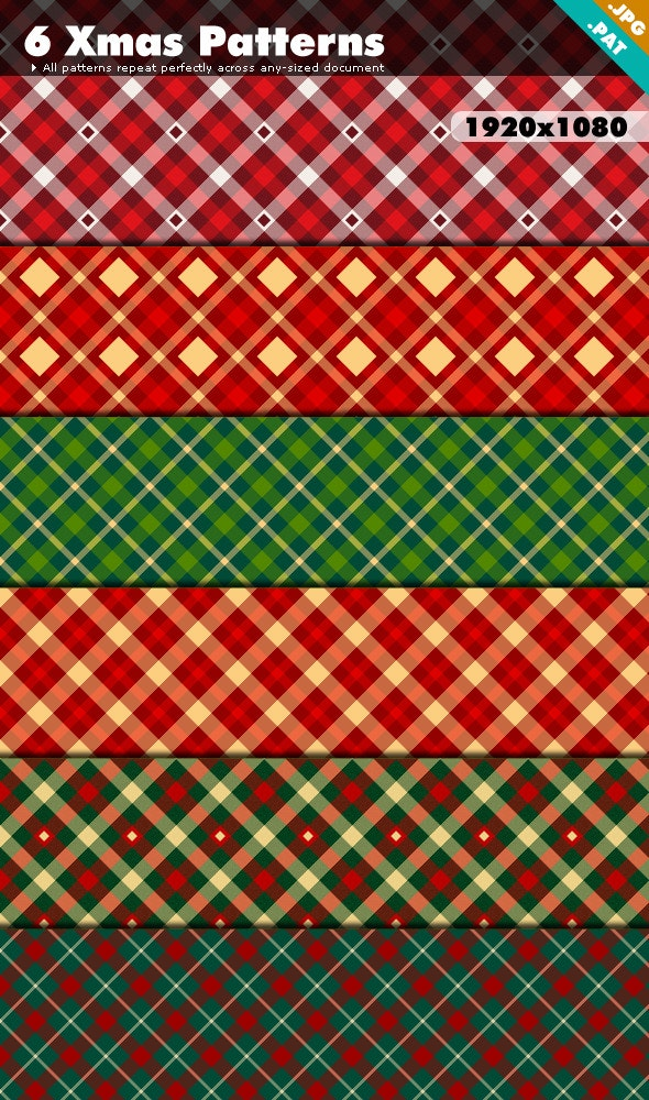 Xmas Patterns Pack 1 - Textures / Fills / Patterns Photoshop
