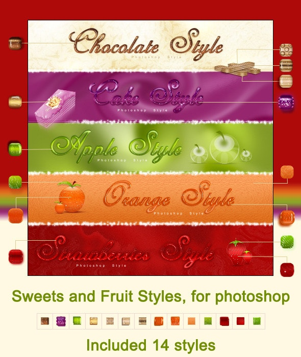 Sweets and Fruit styles, for photoshop - Text Effects Styles