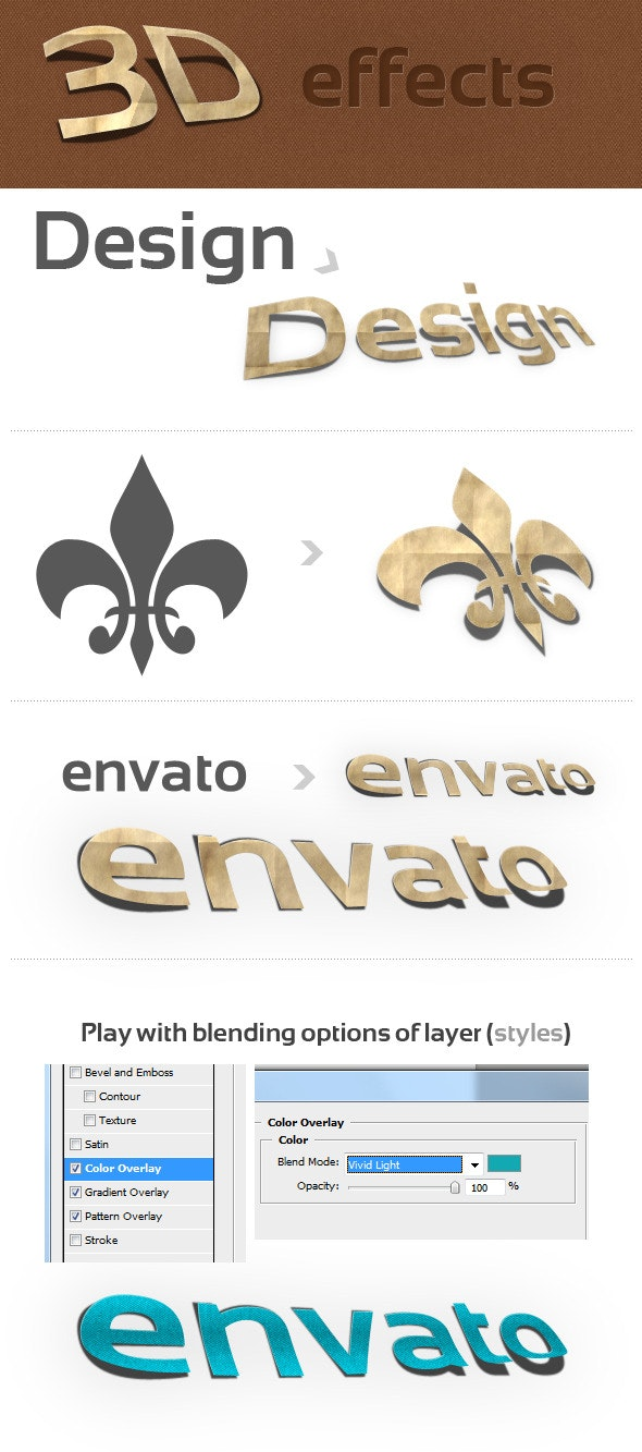 3D Photoshop Action v.1 (paper effect) - Text Effects Actions