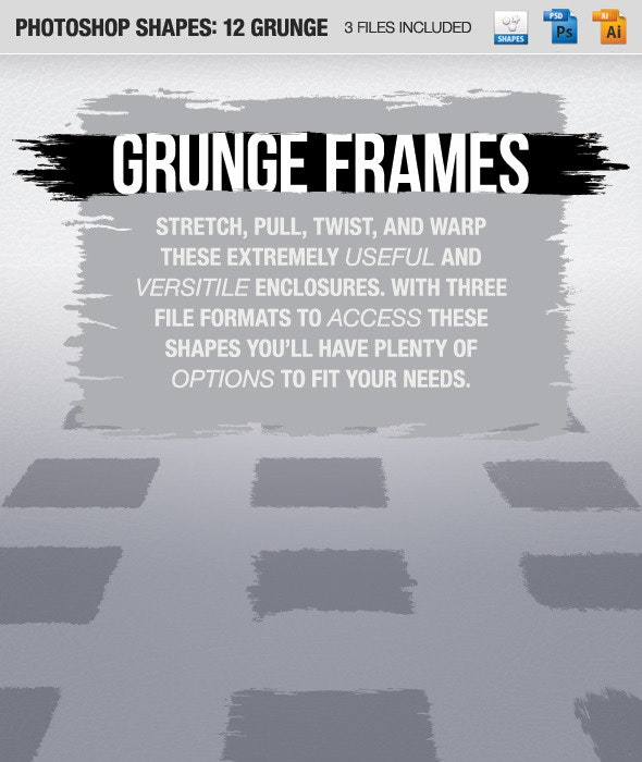 12 Grunge Frames - Shapes Photoshop