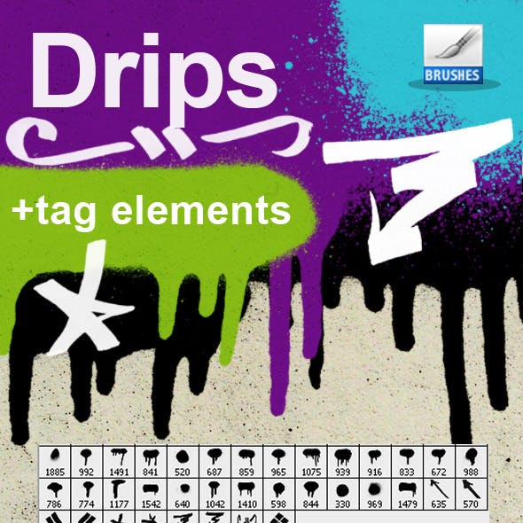 Drips & tags brushes