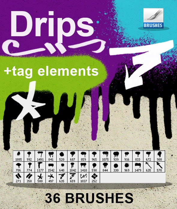 Drips & tags brushes - Brushes Photoshop