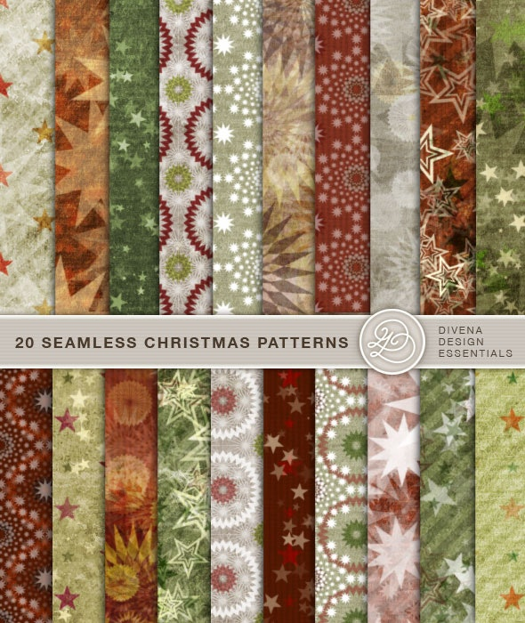 20 Seamless Christmas Patterns Vol. 02 - Photoshop Add-ons