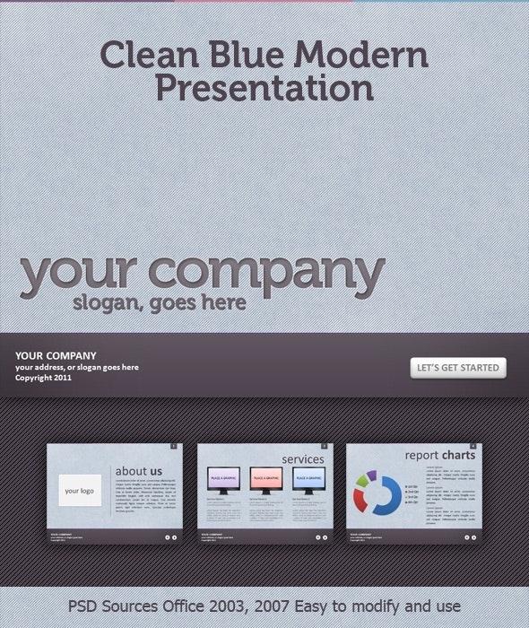 Clean Blue Textured Modern Presentation - Business PowerPoint Templates