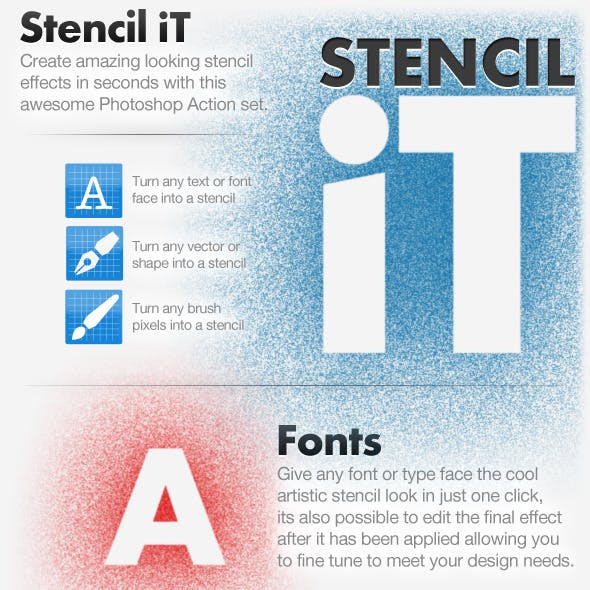 Stencil iT - Stencil Creating Photoshop Action Set