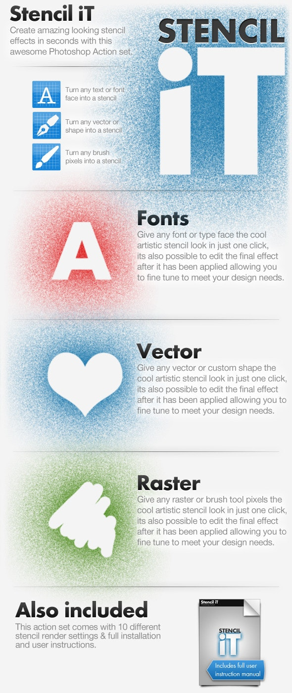 Stencil iT - Stencil Creating Photoshop Action Set - Text Effects Actions