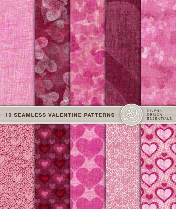 10 Seamless Valentine Patterns - Artistic Textures / Fills / Patterns