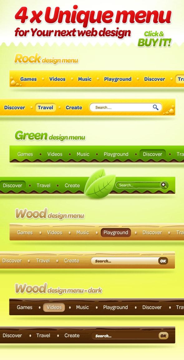 4 x Unique Menu Style for Your Next Web Design - Web Elements