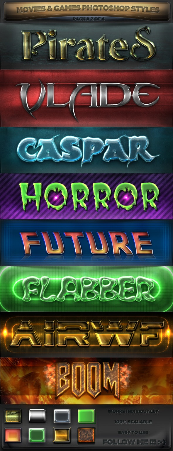 Movies & Games Styles 2 of 4 - Text Effects Styles