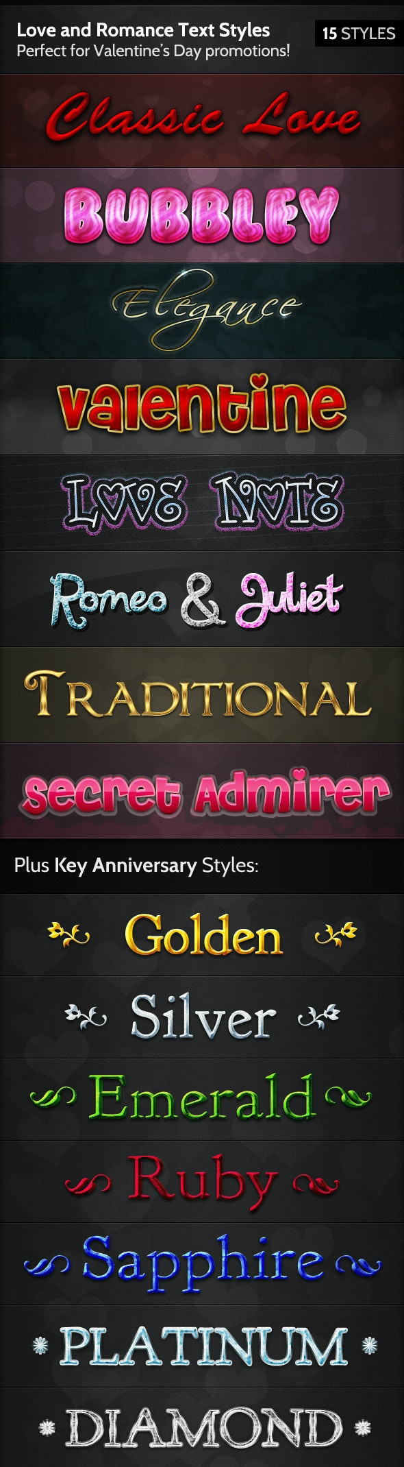 Love and Romance Text Styles - Text Effects Styles