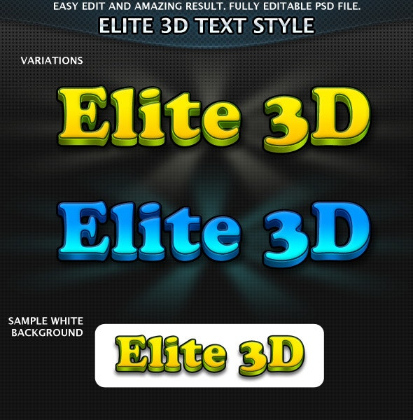 Elite 3D Text Effects - Text Effects Actions