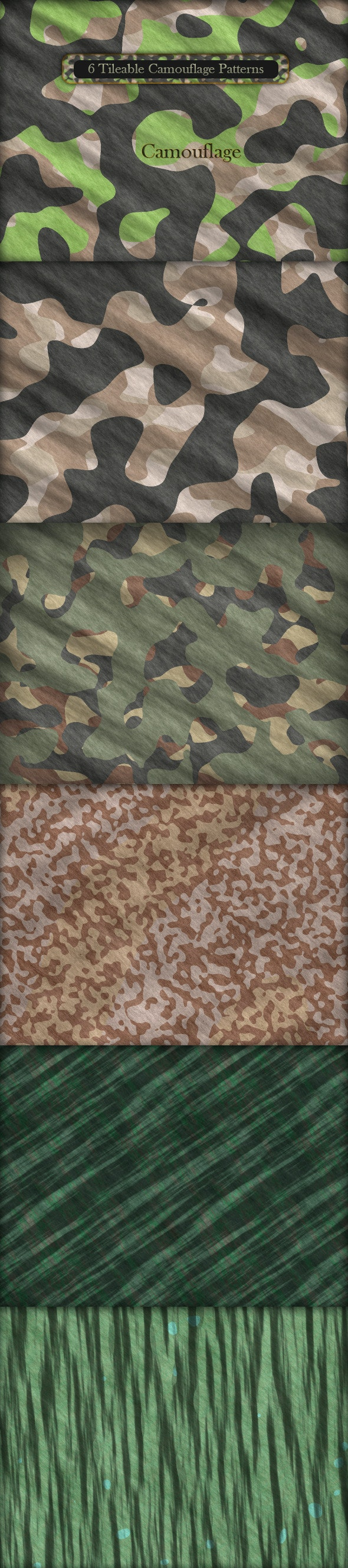 6 Tileable Camouflage Patterns - Techno / Futuristic Textures / Fills / Patterns