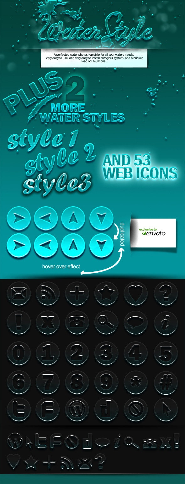Water Style for Both Brushes and Type  - Text Effects Styles