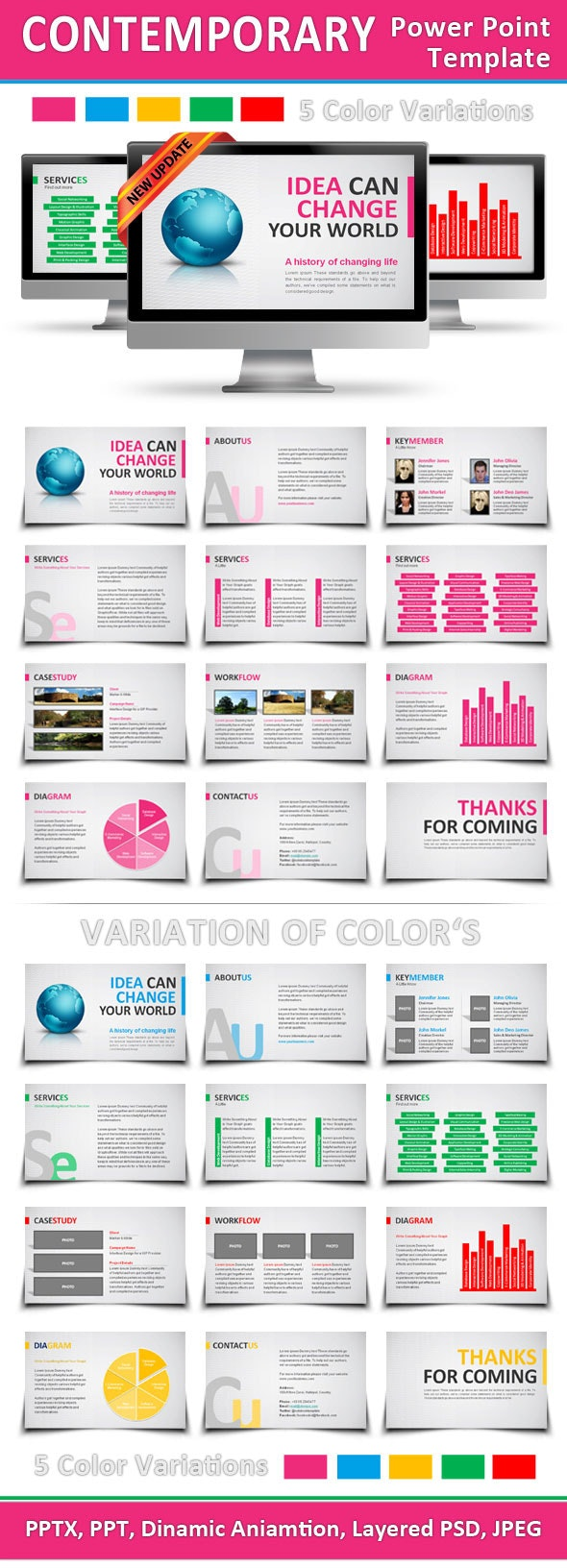 Contemporary Power Point Template - PowerPoint Templates Presentation Templates