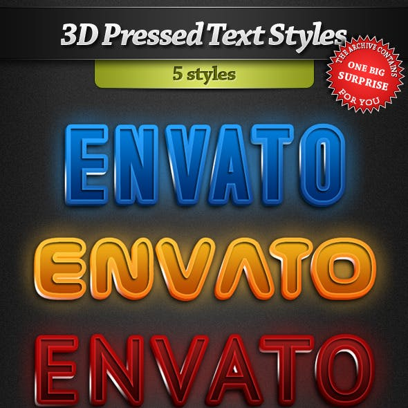 3D Pressed Text Styles