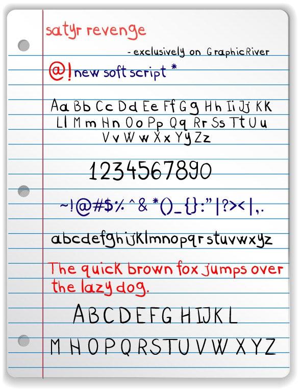 Satyr Revenge - Freehand Font - Hand-writing Script