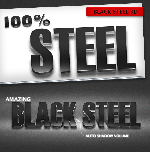 Black Steel 3D Text Effects - Text Effects Styles