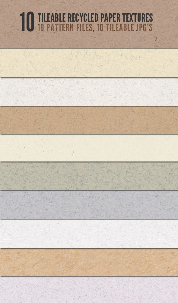 Tileable Recycled Paper Textures - Urban Textures / Fills / Patterns