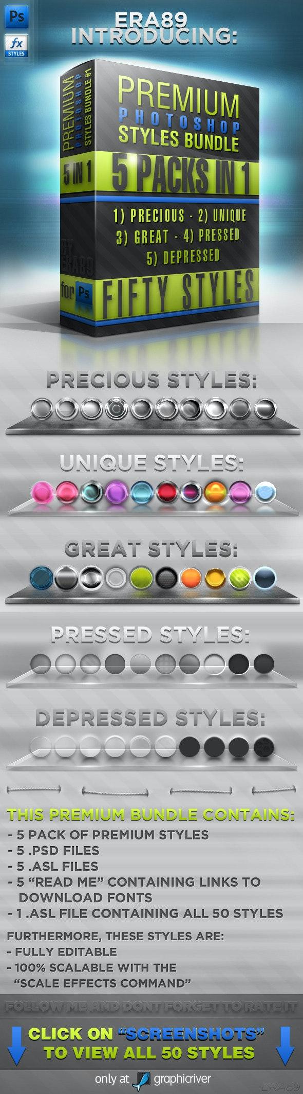 Photoshop Styles BUNDLE #1 - Text Effects Styles